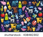 background with animals.... | Shutterstock .eps vector #438482302
