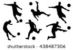 soccer shoot silhouettes on the ...