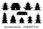 asian temple silhouettes on the ...