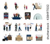 stateless refugees flat icons... | Shutterstock .eps vector #438497032