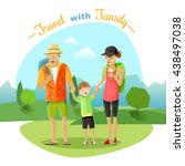 family trip with mother father...   Shutterstock .eps vector #438497038