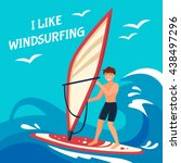 Windsurfing Flat Background....
