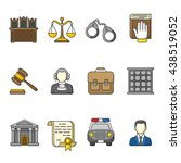 set of law and justice icons.... | Shutterstock .eps vector #438519052