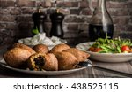 kebba with salad and yogurt   Shutterstock . vector #438525115