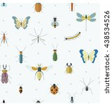 geometric pattern with bugs and ... | Shutterstock .eps vector #438534526