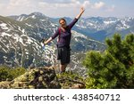 girl celebrates victory in the... | Shutterstock . vector #438540712