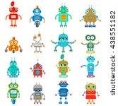 set of retro robots in flat... | Shutterstock . vector #438551182
