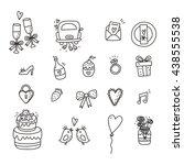 wedding doodle vector icon set | Shutterstock .eps vector #438555538