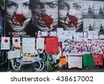Small photo of NEW YORK - JUNE 4, 2016: Stop Rape protest signs during Bushwick Collective Block Party in Brooklyn