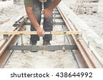construction worker working on... | Shutterstock . vector #438644992