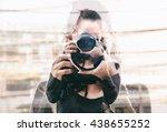 double exposure of girl... | Shutterstock . vector #438655252