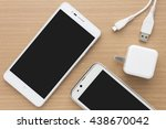 top view of white smartphone... | Shutterstock . vector #438670042