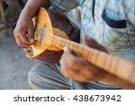 close up shot of a man playing... | Shutterstock . vector #438673942