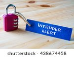 words intruder alert written on ... | Shutterstock . vector #438674458