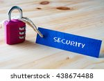 words security written on tag... | Shutterstock . vector #438674488