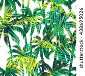 tropical summer print with palm.... | Shutterstock .eps vector #438695026