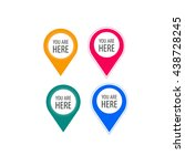 you are here icons. info speech ... | Shutterstock .eps vector #438728245