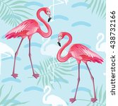 seamless pattern with flamingo | Shutterstock .eps vector #438732166