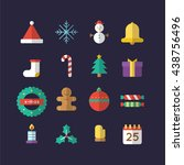 set of christmas icon   vector  ... | Shutterstock .eps vector #438756496
