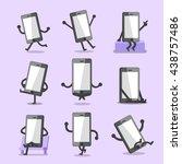 cartoon smartphone character... | Shutterstock .eps vector #438757486
