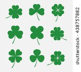 Stock vector luck clover leaves vector set isolated on white background silhouettes of four and three leaf 438757882