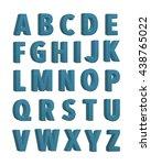 blue fabric knitted alphabet.... | Shutterstock . vector #438765022