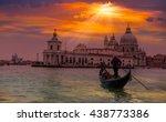venetian gondolier punting... | Shutterstock . vector #438773386