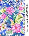 seamless artistic floral...   Shutterstock . vector #438773836