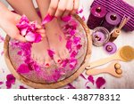 young woman receives a foot... | Shutterstock . vector #438778312