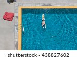 man swim in the pool at the...   Shutterstock . vector #438827602