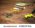 Fishing Lures On Old Wooden...