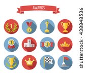 set of white vector award... | Shutterstock .eps vector #438848536