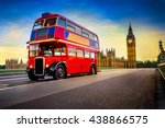 Red Vintage Bus And Big Ben In...