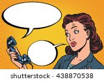 female phone conversation... | Shutterstock .eps vector #438870538