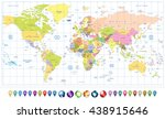 colored political world map and ... | Shutterstock .eps vector #438915646