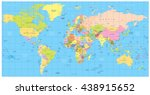 detailed political world map ... | Shutterstock .eps vector #438915652