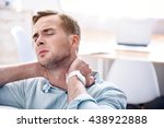 cheerless man sitting on the... | Shutterstock . vector #438922888