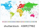 world map spotted colors and 3d ... | Shutterstock .eps vector #438927982