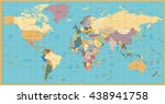 retro color political world map.... | Shutterstock .eps vector #438941758