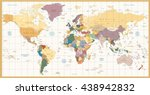 vintage color political world... | Shutterstock .eps vector #438942832