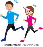 young couple running shortness... | Shutterstock . vector #438944848