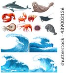 Ocean Waves And Sea Animals ...