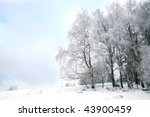 Winter landscape near small, picturesque Pasterka village in Poland. Famous tourist attraction, Table Mountain. - stock photo