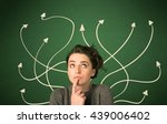 young student with thoughtful... | Shutterstock . vector #439006402