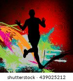 marathon runners illustration | Shutterstock .eps vector #439025212