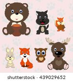 collection of cute animals. set ... | Shutterstock .eps vector #439029652