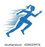 woman of side running. sport... | Shutterstock .eps vector #439029976