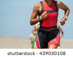 woman runner running on... | Shutterstock . vector #439030108