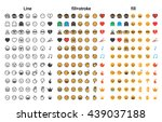 emoji stroke and color fill... | Shutterstock .eps vector #439037188