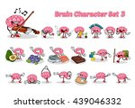 set of brain cartoon character... | Shutterstock .eps vector #439046332